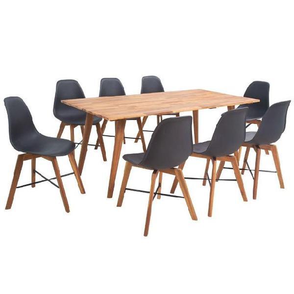 Vidaxl set da pranzo in legno massello di acacia nove pezzi