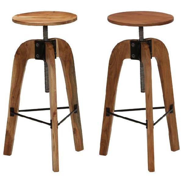 Vidaxl sgabelli da bar 2 pz in legno massello di acacia