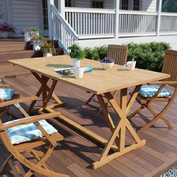 Vidaxl tavolo da giardino 180x90x75 cm in legno massello di