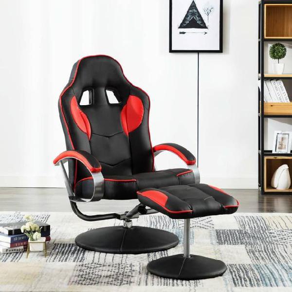 Vidaxl poltrona gaming reclinabile con poggiapiedi rossa in