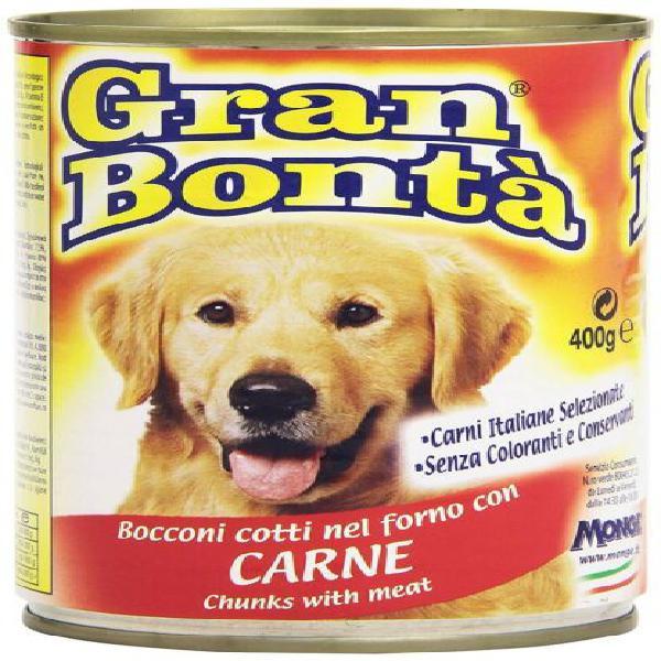 Monge gran bonta bocconi con carne scatoletta per cani da