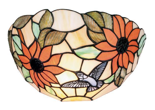 Applique Floreale Vetro Colorato Lampada A Lunetta Classica