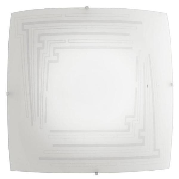 Plafoniera lampada moderna quadrata vetro decoro glitterato