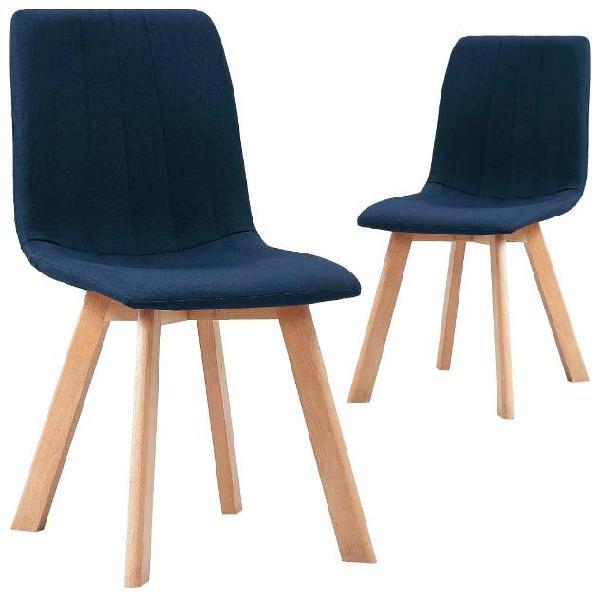 Vidaxl sedie da pranzo 2 pz blu in tessuto