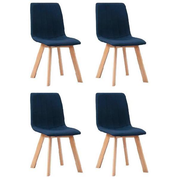 Vidaxl sedie da pranzo 4 pz blu in tessuto