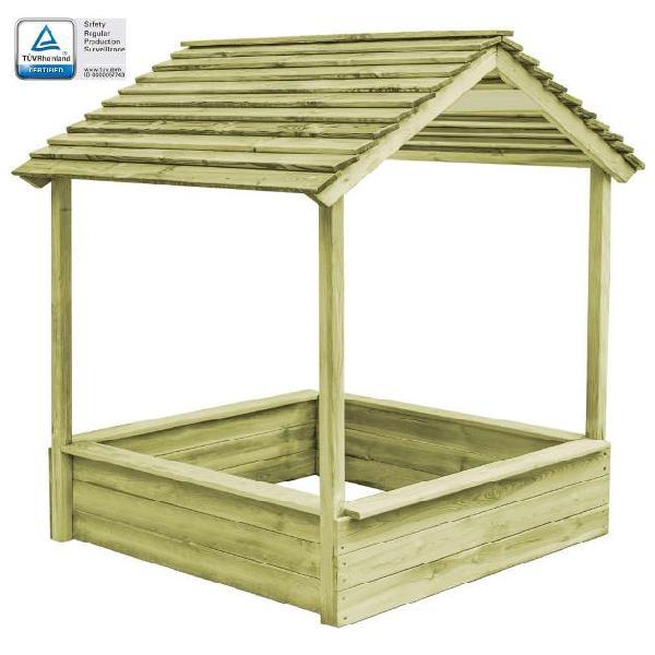 Vidaxl casetta da giardino con sabbiera 128x120x145 cm legno