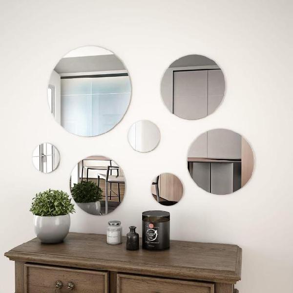 Vidaxl set di specchi da parete 7 pz in vetro circolare