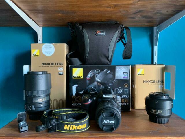 Macchina fotografica reflex nikon d3200, obbiettivi nikkor