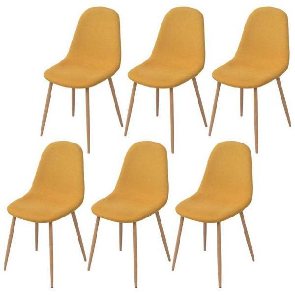 Vidaxl sedie da pranzo 6 pz gialle in tessuto