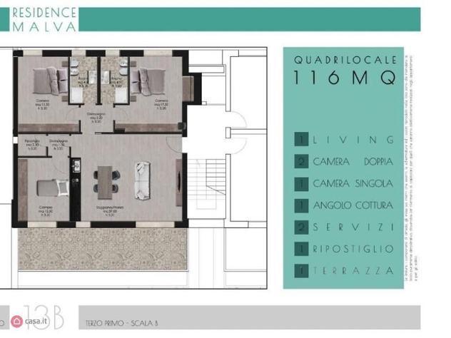 Appartamento di 119mq in via michele amari 20 a roma