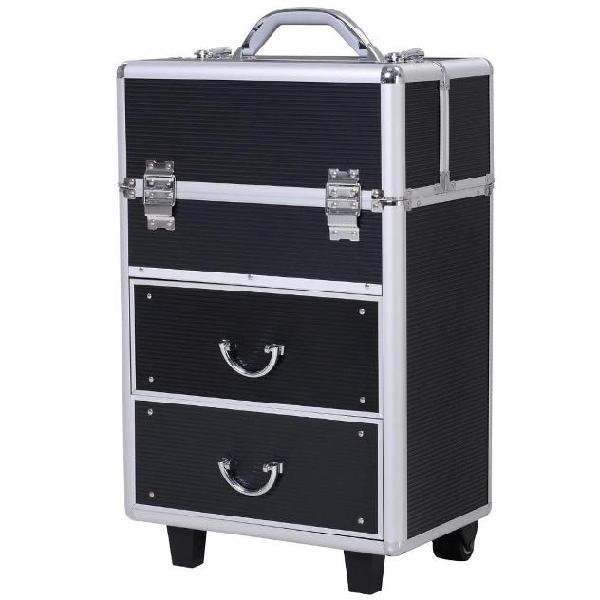 Trolley porta trucchi professionale nero 36x23x58-103 cm