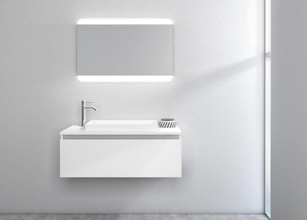 Mobile bagno sospeso 100cm tft ibiza bianco specchio
