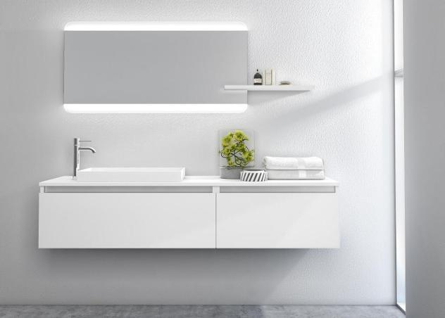 Mobile bagno sospeso 170cm tft ibiza bianco specchio