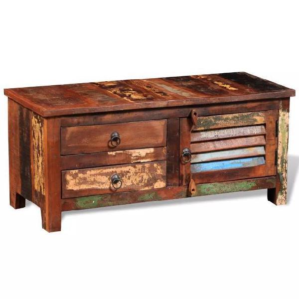 Vidaxl armadietto ad angolo in legno anticato massello per