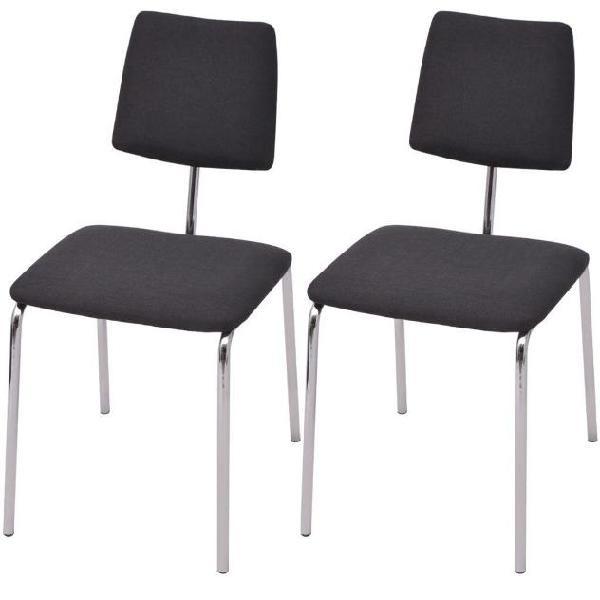 Vidaxl set 2 sedie sala da pranzo in stoffa nera
