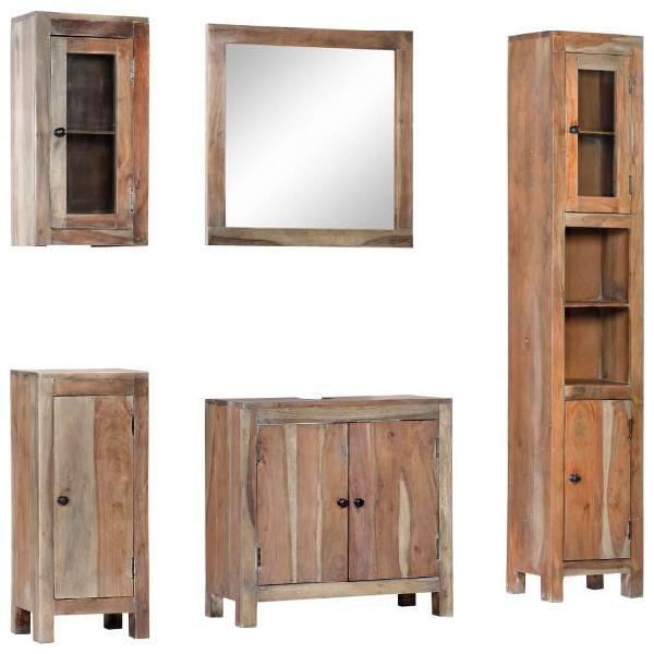 Vidaxl set da bagno 5 pz in legno massello di acacia