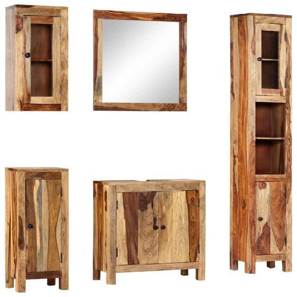 Vidaxl set da bagno 5 pz in legno massello di sheesham