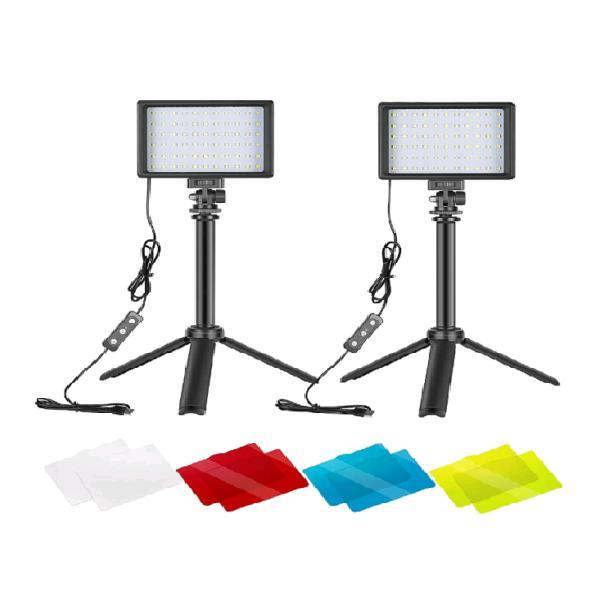 2 kit d'illuminazione portatili a 66 led dimmerabile 5600k a