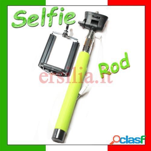 Bastone per selfie monopod telescopico con tasto foto per smartphone (verde)