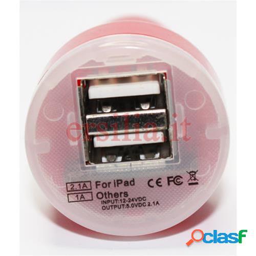 Carica batteria per auto doppio ingresso compatibile ipad, smartphone, iphone e cellulari (rosso)