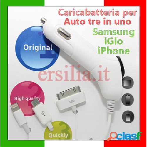 Kit carica batteria per auto compatibile iglo, samsung, iphone
