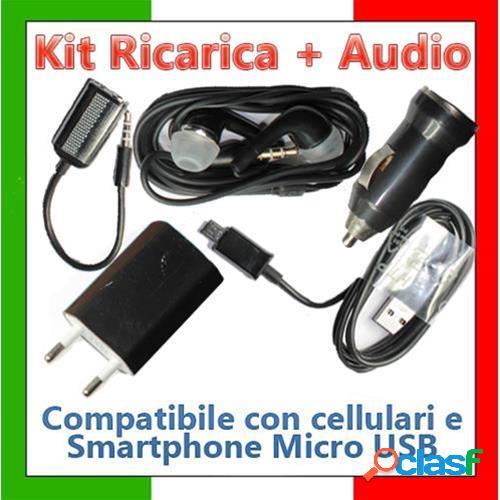 Kit ricaricabatteria + audio 5 in uno per smarphone e cellulari con adattatore micro usb