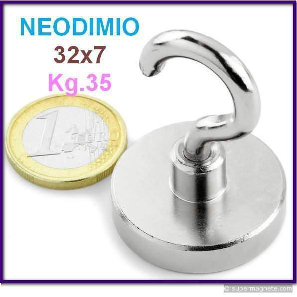 Neodimio magnete a gancio 32x7 mm 35 kg. calamita calamite