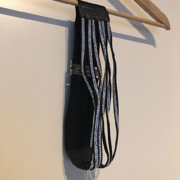 Cintura brillantinata elastica nera