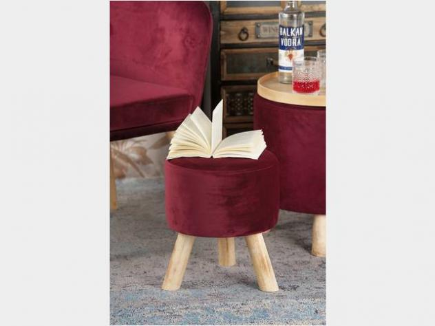 Pouf in velluto rosso nuovo art.53857