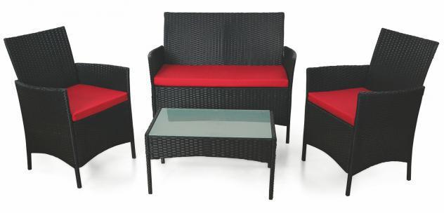 Set da giardino divano 2 poltrone e tavolino in polyrattan