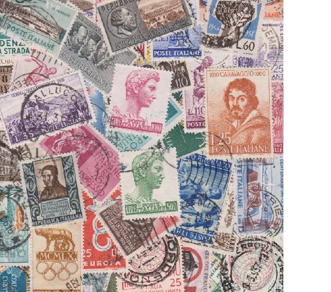 100 francobolli commemorativi italiani usati