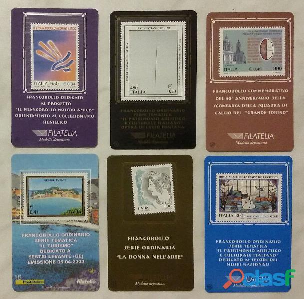 6 (sei) francobolli serie ordinaria tematica il folder poste italiane: 1/6/13/15/22/41 nuovo