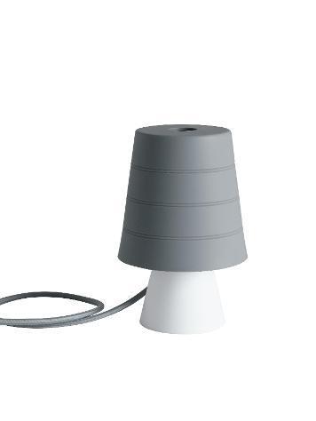 Lampada da tavolo silicone grigio paralume morbido moderna