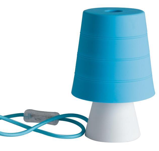 Lumetto moderno paralume morbido gomma blu interno e14