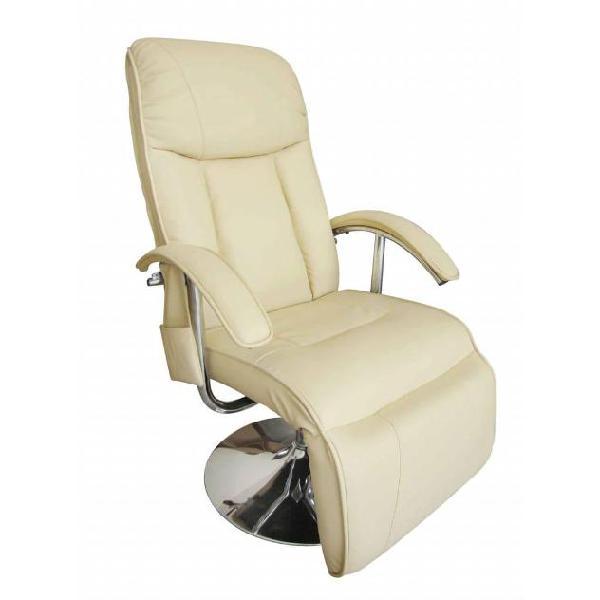 Vidaxl poltrona massaggiante bianco crema in similpelle