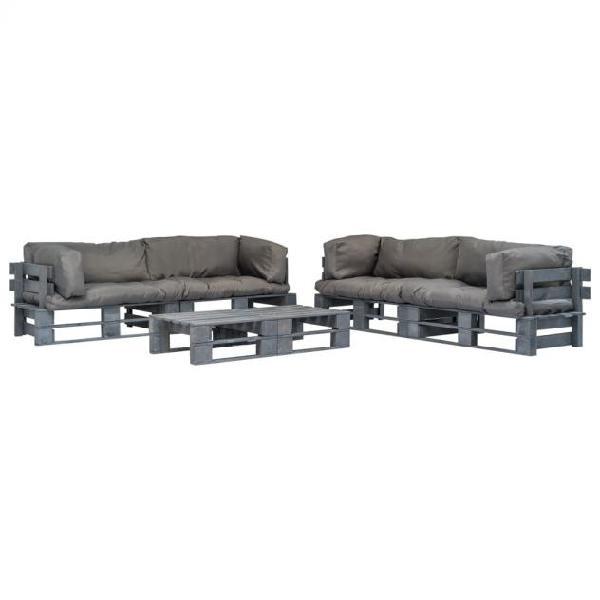 Vidaxl set divani da giardino 6 pz pallet cuscini grigi in