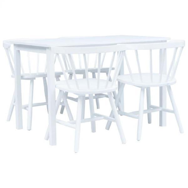 Vidaxl set da pranzo 5 pz in legno massello di hevea bianco