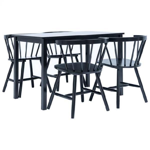 Vidaxl set da pranzo 5 pz in legno massello di hevea nero