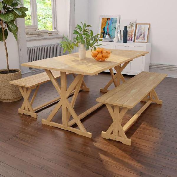 Vidaxl set da pranzo per esterno 3 pz in legno massello di