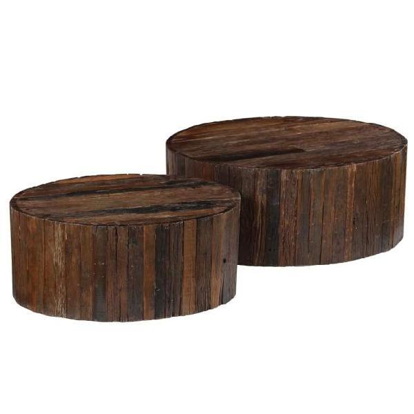 Vidaxl tavolini da caffè 2 pz in legno massello di recupero