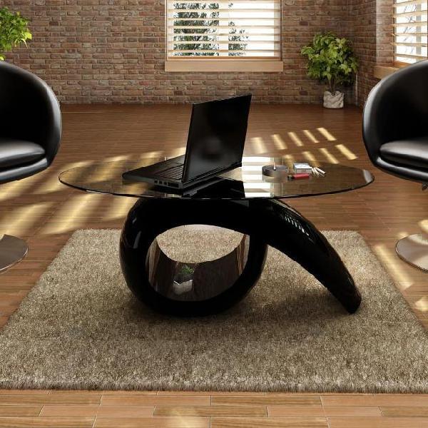 Vidaxl tavolino da caffè con ripiano ovale in vetro nero