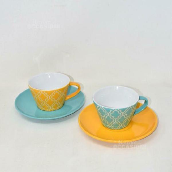 Servizio due tazze con due piatti tognana in porcellana