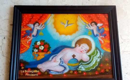 Bambinello dormiente cm 58x45 pittura su vetro repro sicilia