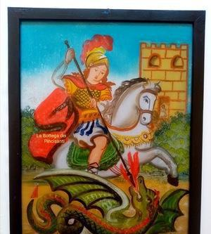 San giorgio cm 40x30 pittura su vetro repro sicilia arte