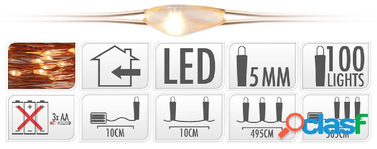 Illuminazione a LED con 100 lampadine bianco caldo