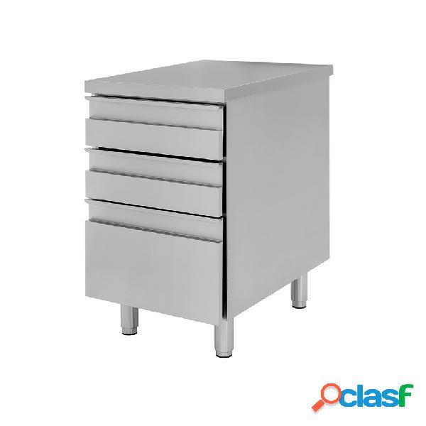 Cassettiera in acciaio inox con 2 cassetti e un cassettone, l 500 x p 600 x h 850 mm
