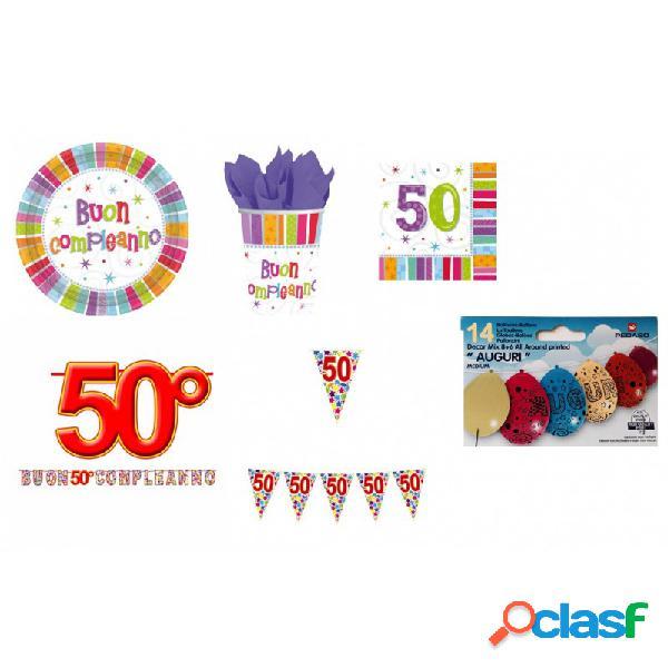 Kit n. 11 - 48 pz. addobbi compleanno 50 anni + festoni e palloncini