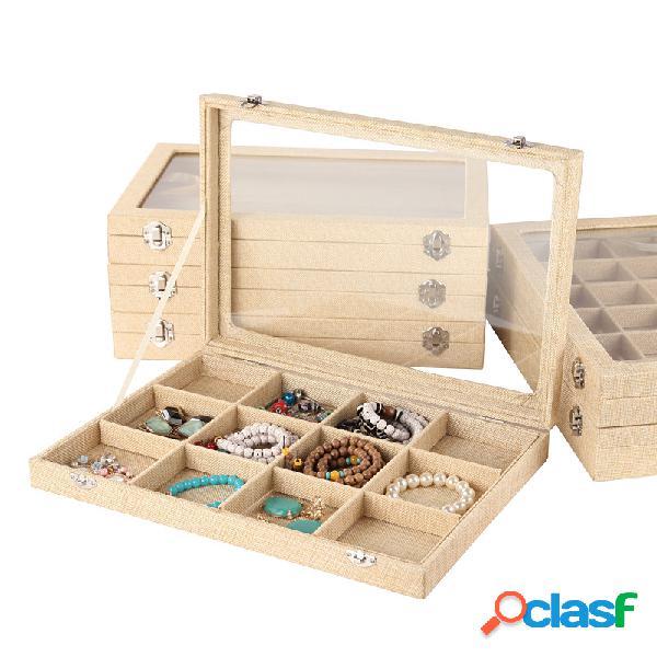 Gioielli in giada di lino vintage wenwan display scatola gioielli scatola con coperchio collana anello di stoccaggio scatola