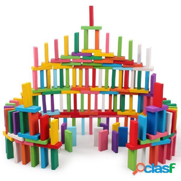 120 pezzi blocchi di legno domino costruzione giocattolo colore ordinamento arcobaleno giochi blocco giocattoli per bambini regali per bambini