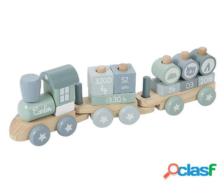 Trenino legno adventure azzurro personalizzabile